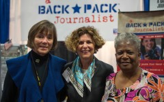 It's all about the supporting the family!  A Backpack Journalist booth visited by Mrs. Linda Odierno, spouse of Chief of Army, Ray Odierno