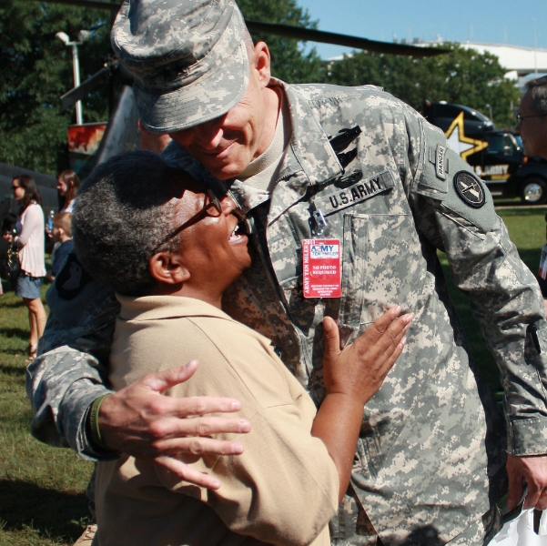 A smile and hug for a soldier is always a good thing.