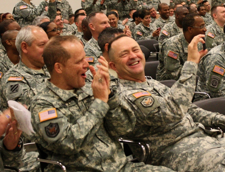 Soldiers enjoying a good laugh