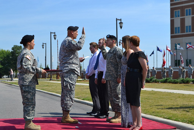 General Ordierno reads the oath