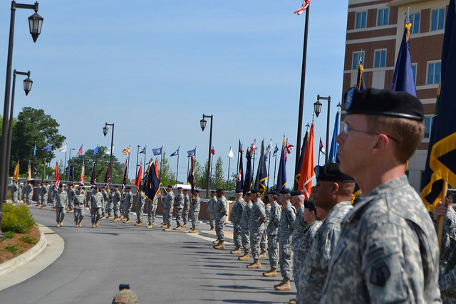 Traditional review of the troops after the official changing of command.