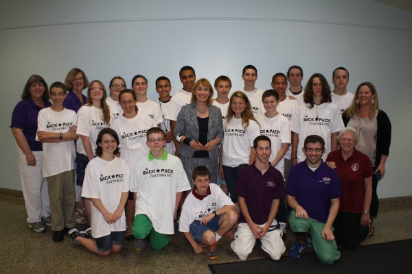 New Hampshire Governor Maggie Hassan stopped by to visit with the Backpackers at UNH