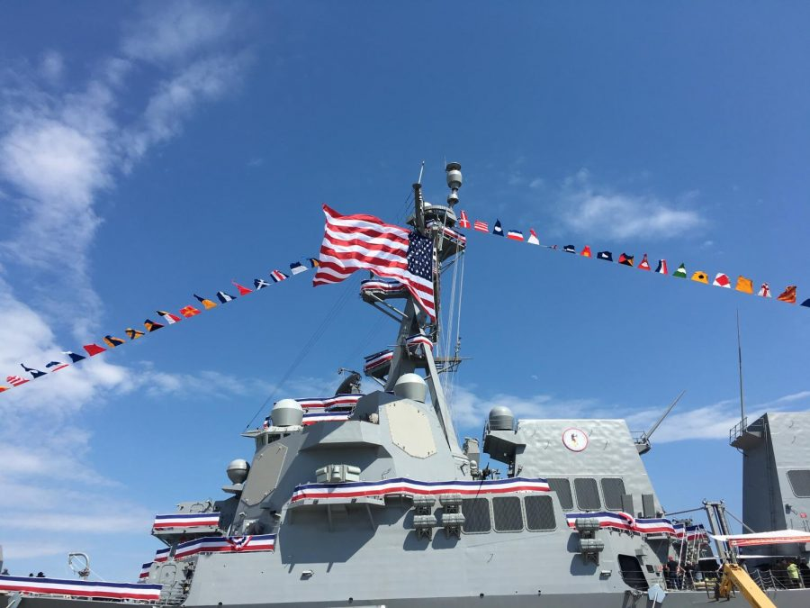 Backpack Journalists attend the commissioning of the USS Ralph Johnson