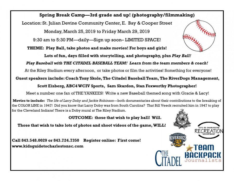 SPRING BREAK CAMP!  March 25 – 29, 2019!  Registrations now open!